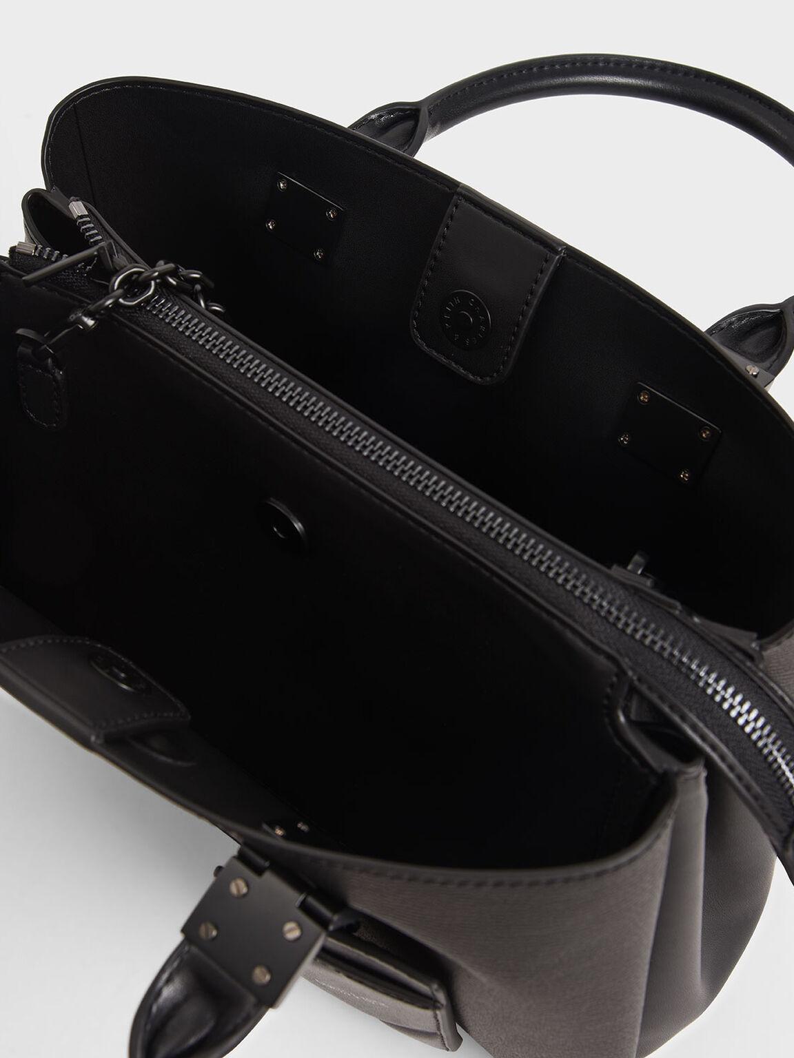 吊牌方形手提包, 霧面黑, hi-res
