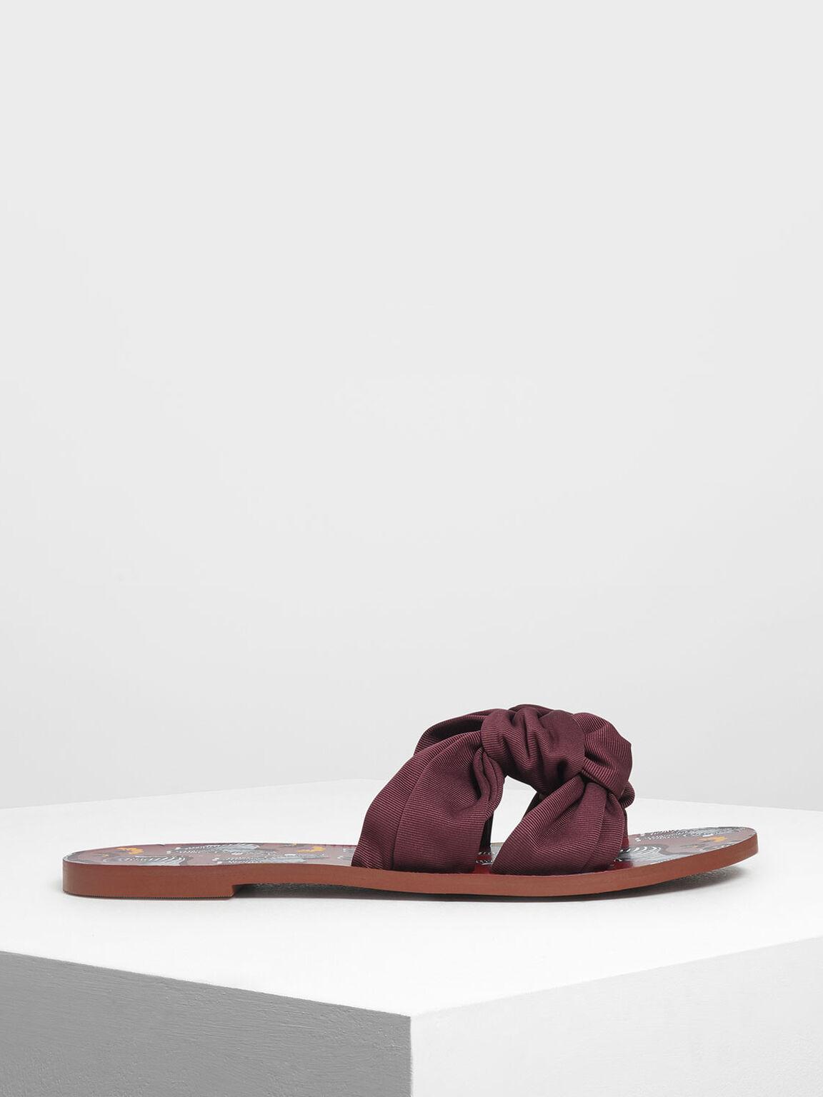 Knotted Slide Sandals, Burgundy, hi-res