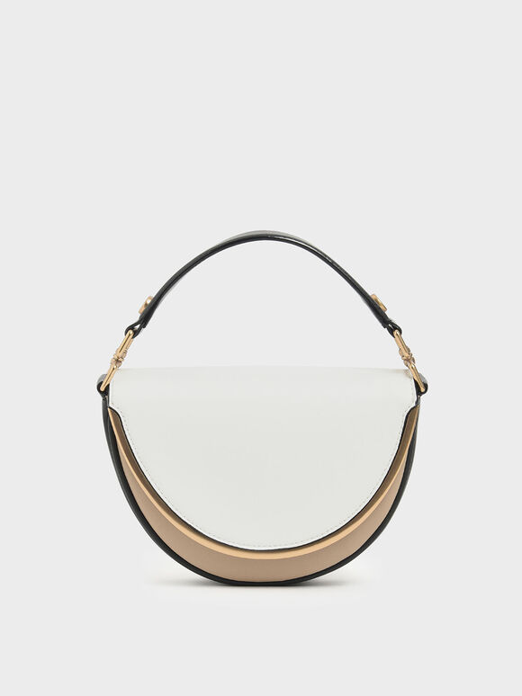 Two-Tone Top Handle Semi-Circle Bag, Multi, hi-res