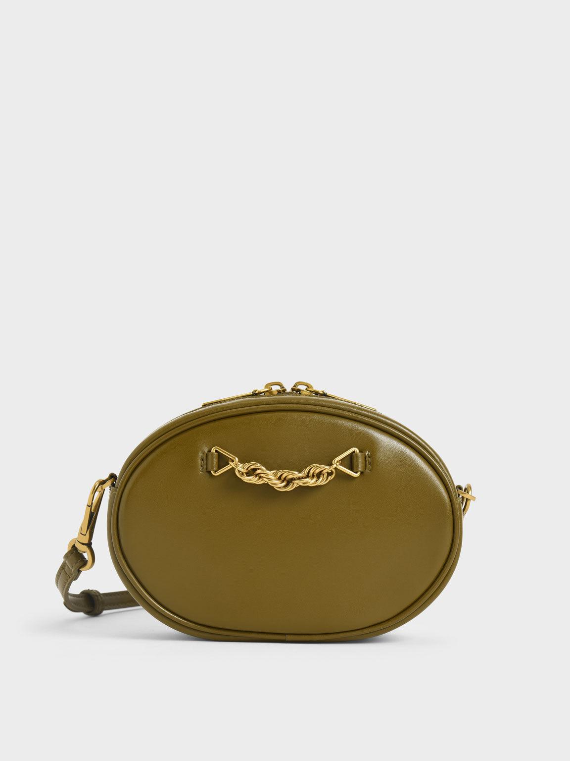 Chain-Embellished Oval Crossbody Bag, Olive, hi-res
