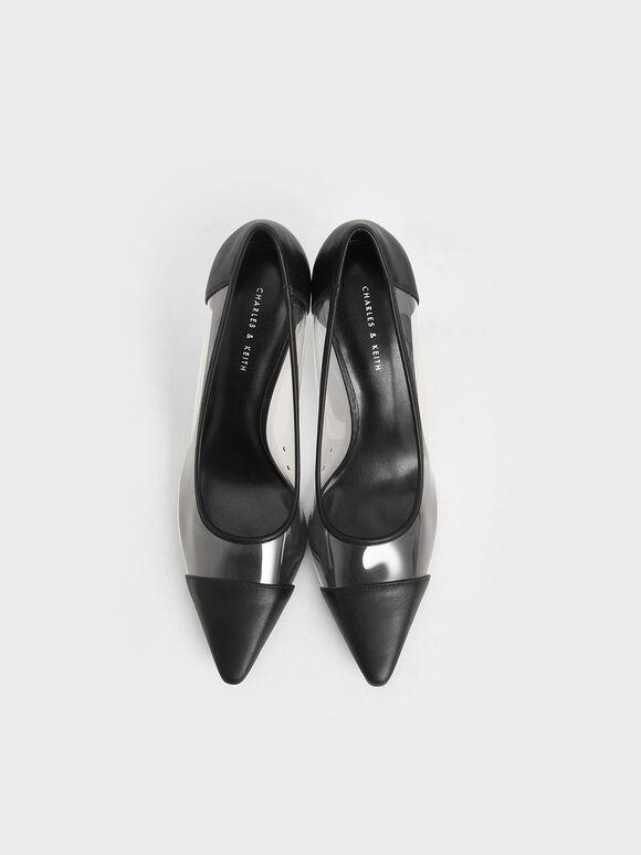 拼接尖頭高跟鞋, 黑色特別款, hi-res