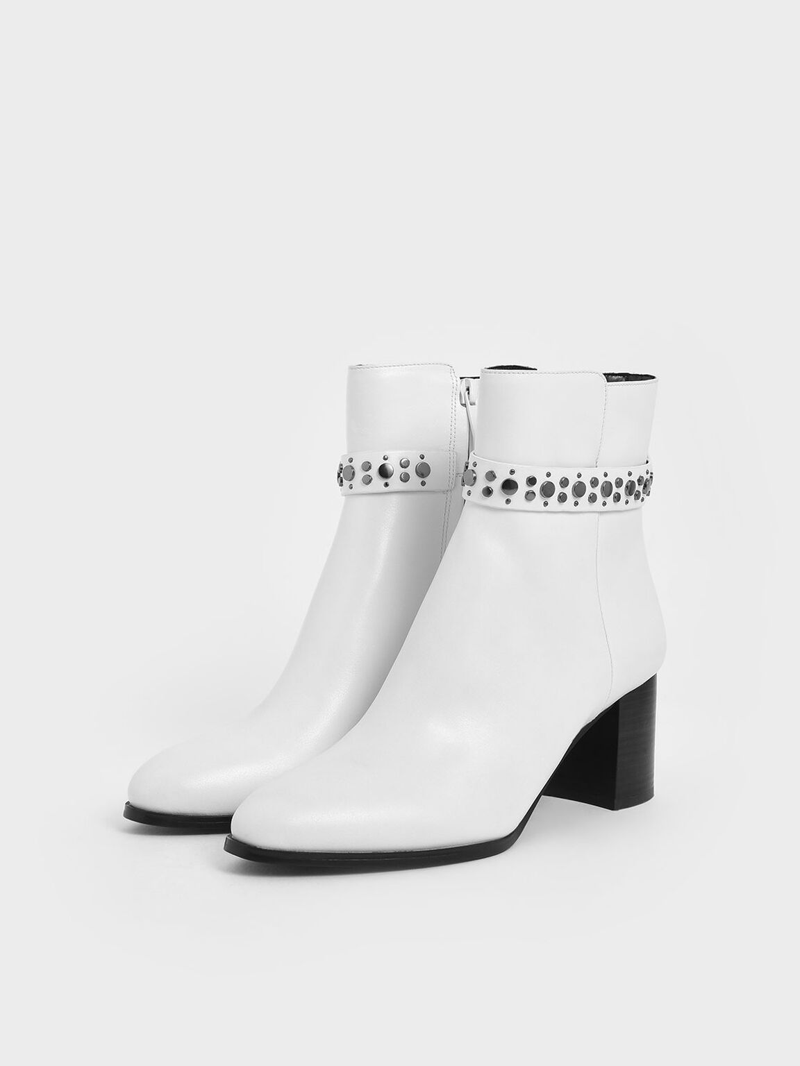 Leather Embellished Ankle Boots, White, hi-res