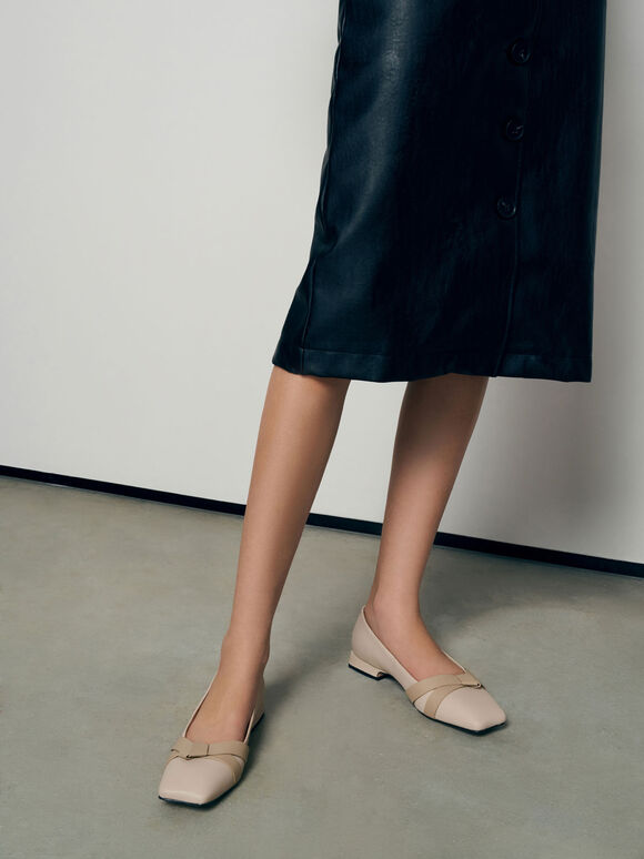 Leather Bow-Tie Ballerinas, Chalk, hi-res