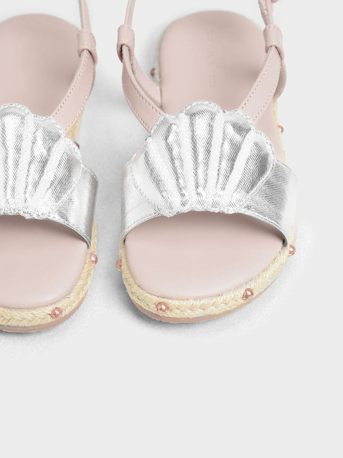 兒童貝殼草編涼鞋, 銀色, hi-res