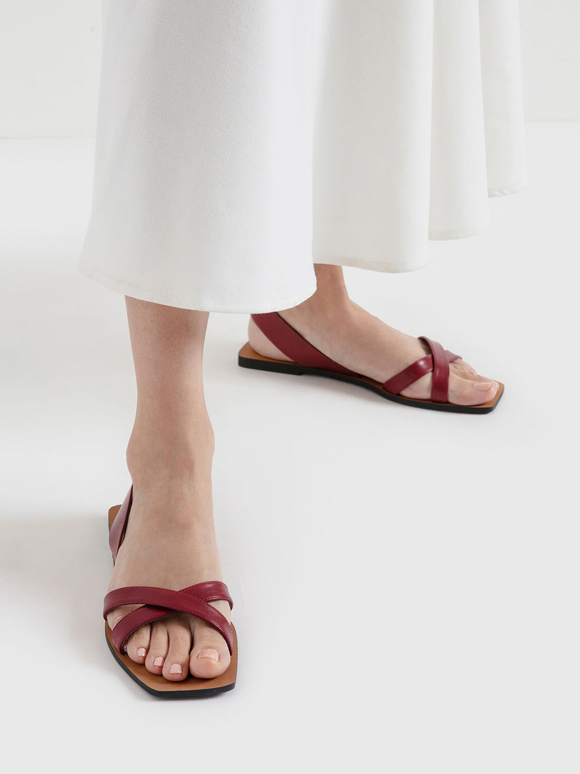 交叉帶涼鞋, 紅色, hi-res