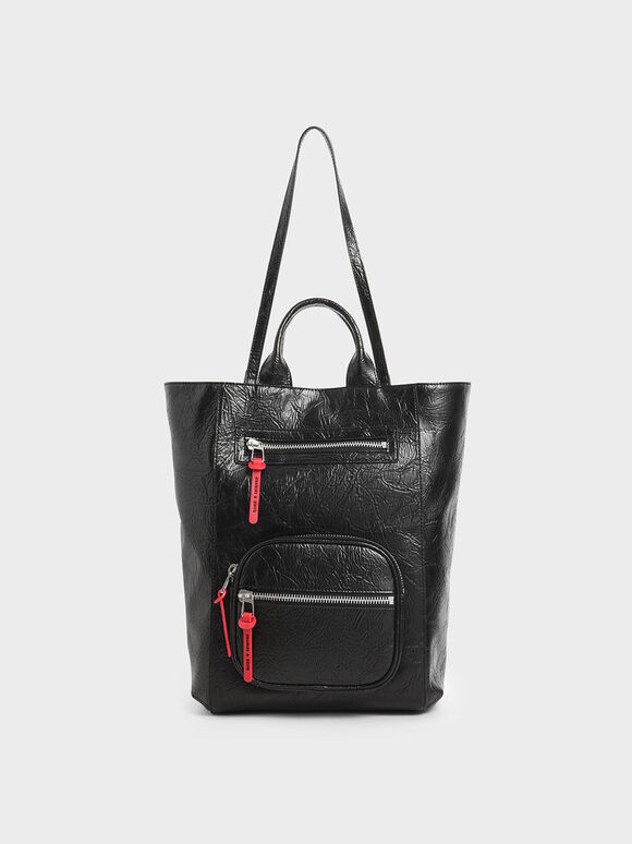 Wrinkled-Effect Double Top Handle Tote, Black, hi-res