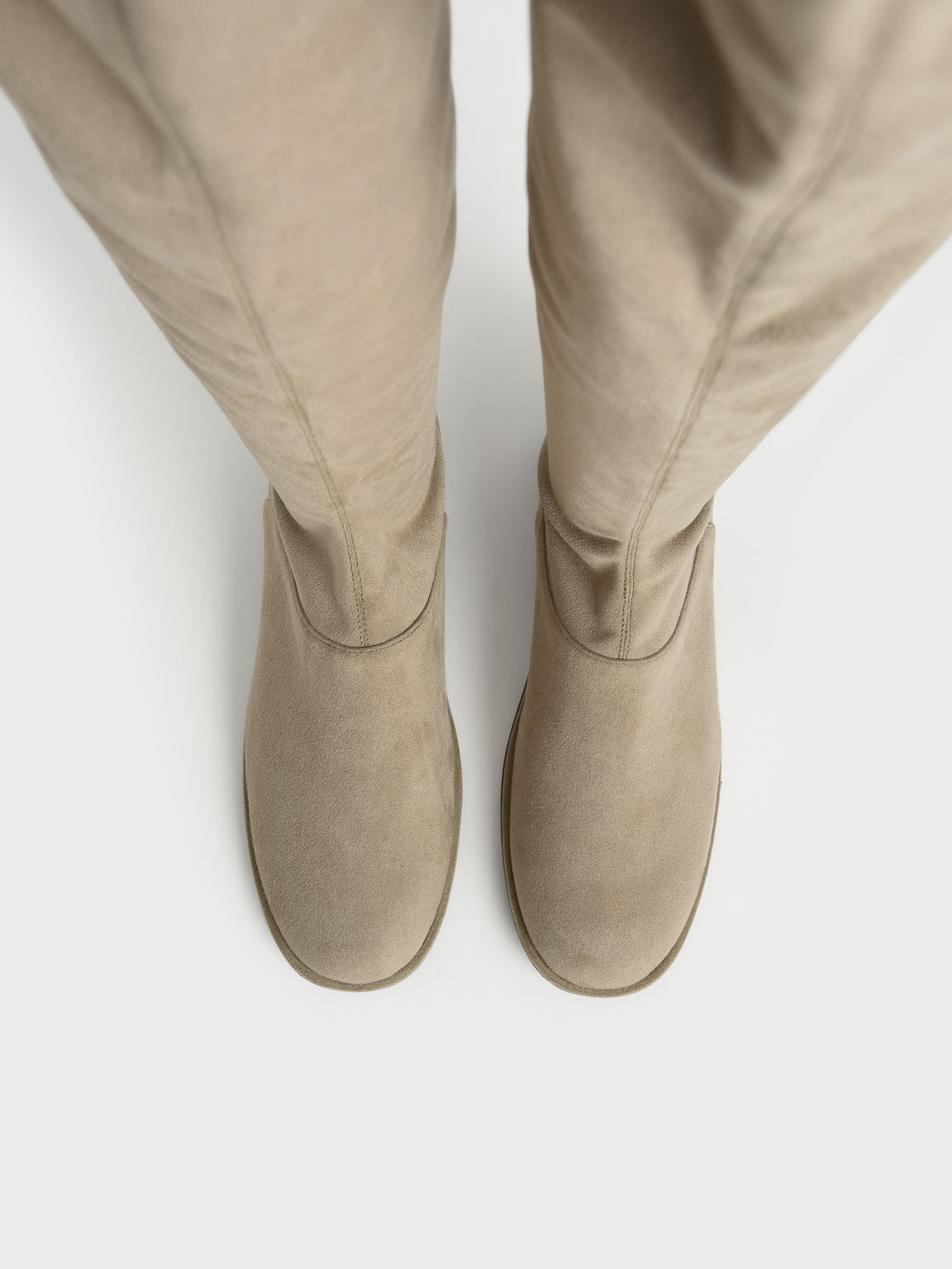 Textured Thigh-High Boots, Olive, hi-res