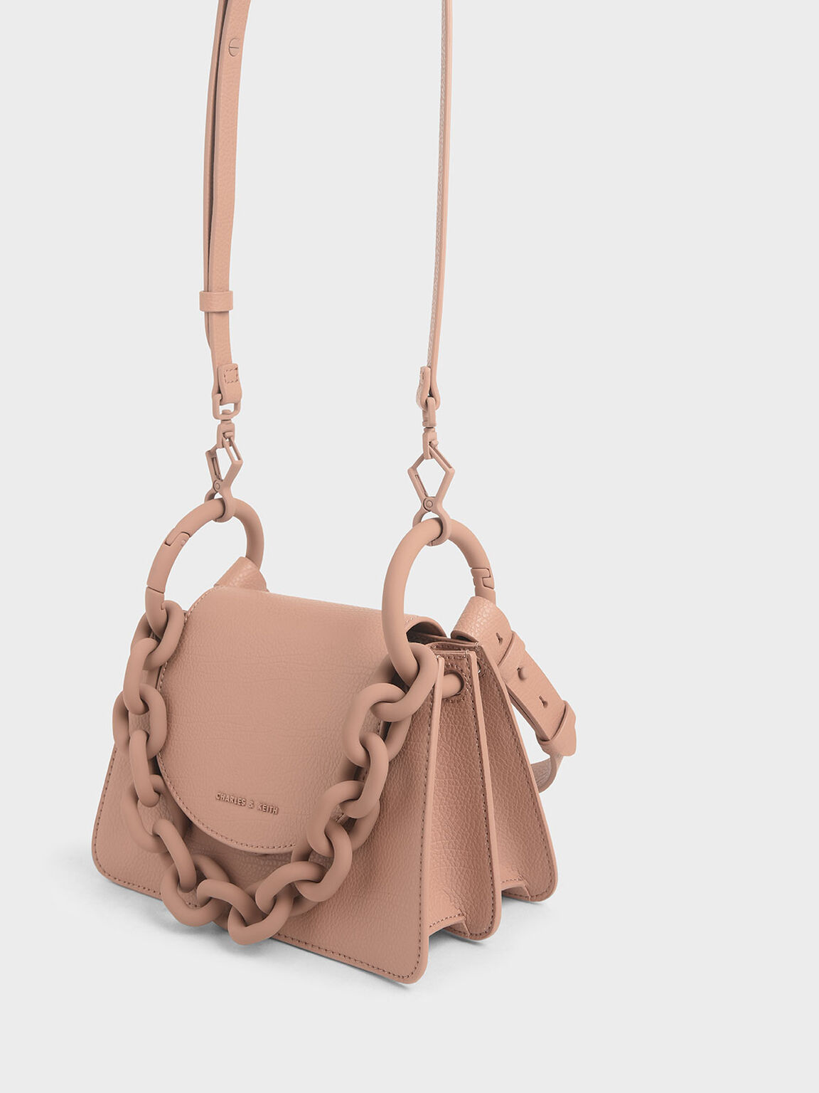 Chunky Chain Link Small Shoulder Bag, Blush, hi-res