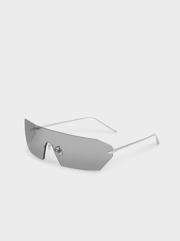 Rectangular Shield Sunglasses, Grey, hi-res