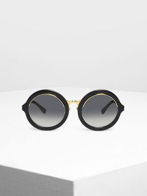 Thick Frame Round Sunglasses, Black