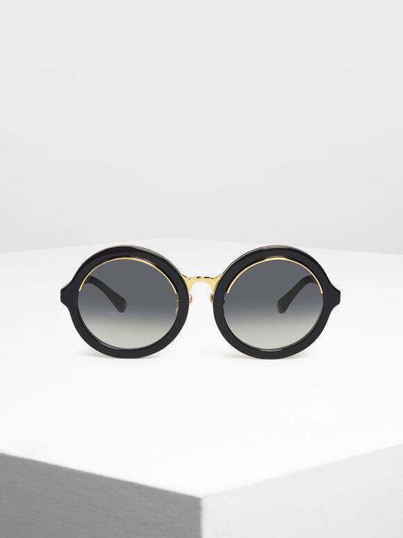 Thick Frame Round Sunglasses, Black, hi-res