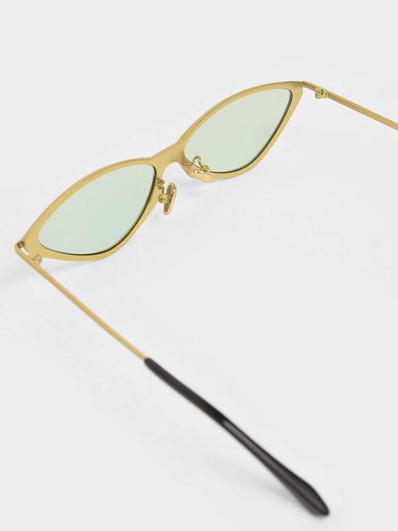金屬框貓眼墨鏡, 綠色, hi-res