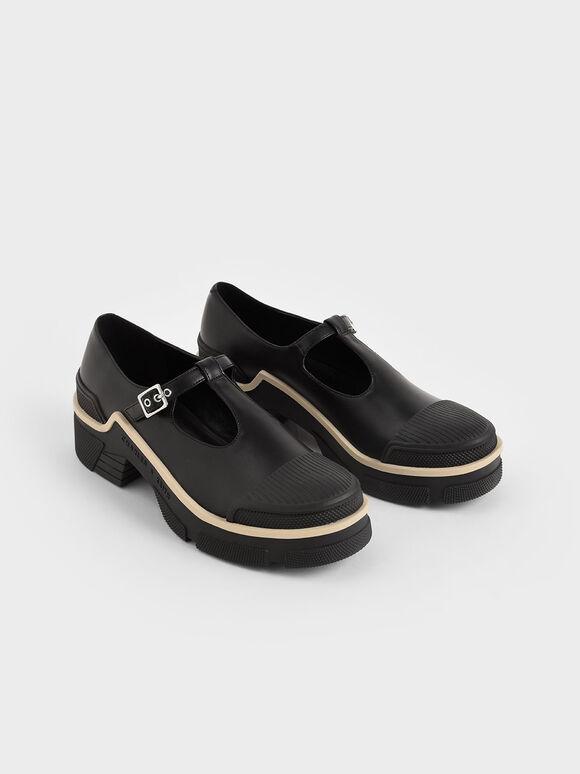 Platform Mary Janes, Black, hi-res