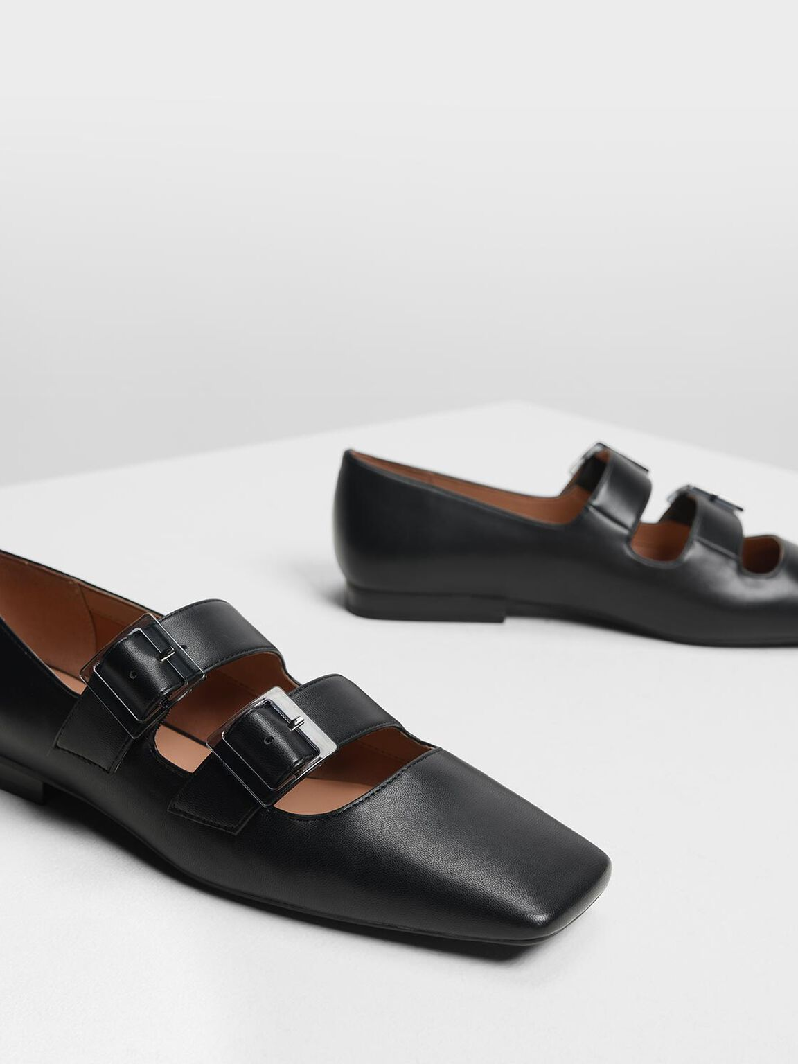 Double Buckle Mary Jane Flats, Black, hi-res