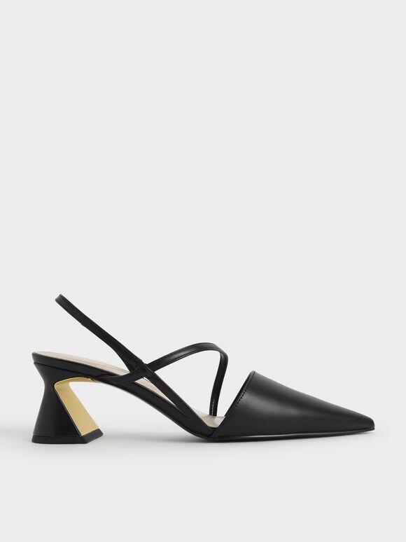Asymmetric Strap Geometric Heel Pumps, Black, hi-res