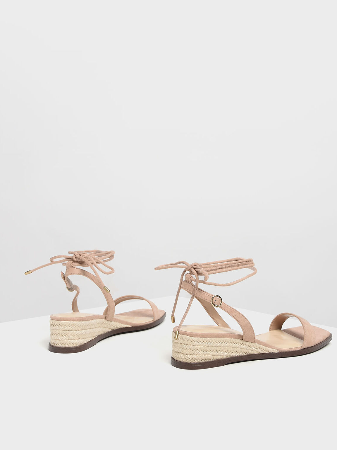 Strappy Espadrille Wedges, Beige, hi-res