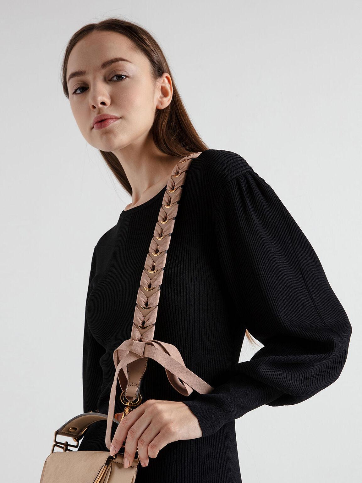 緞帶編織背帶, 米黃色, hi-res