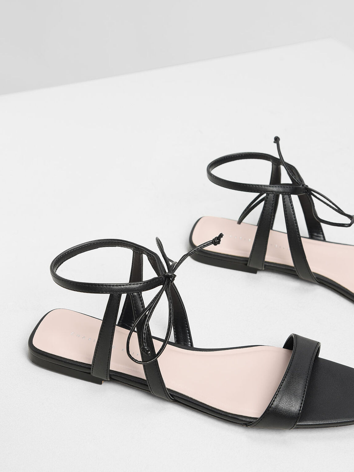 Tie Front Open Toe Sandals, Black, hi-res