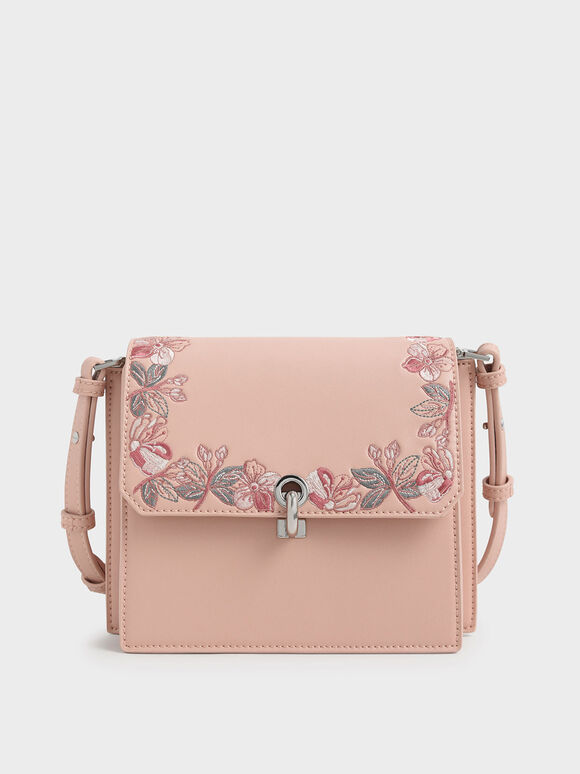 Floral Embroidered Turn Lock Bag, Pink, hi-res