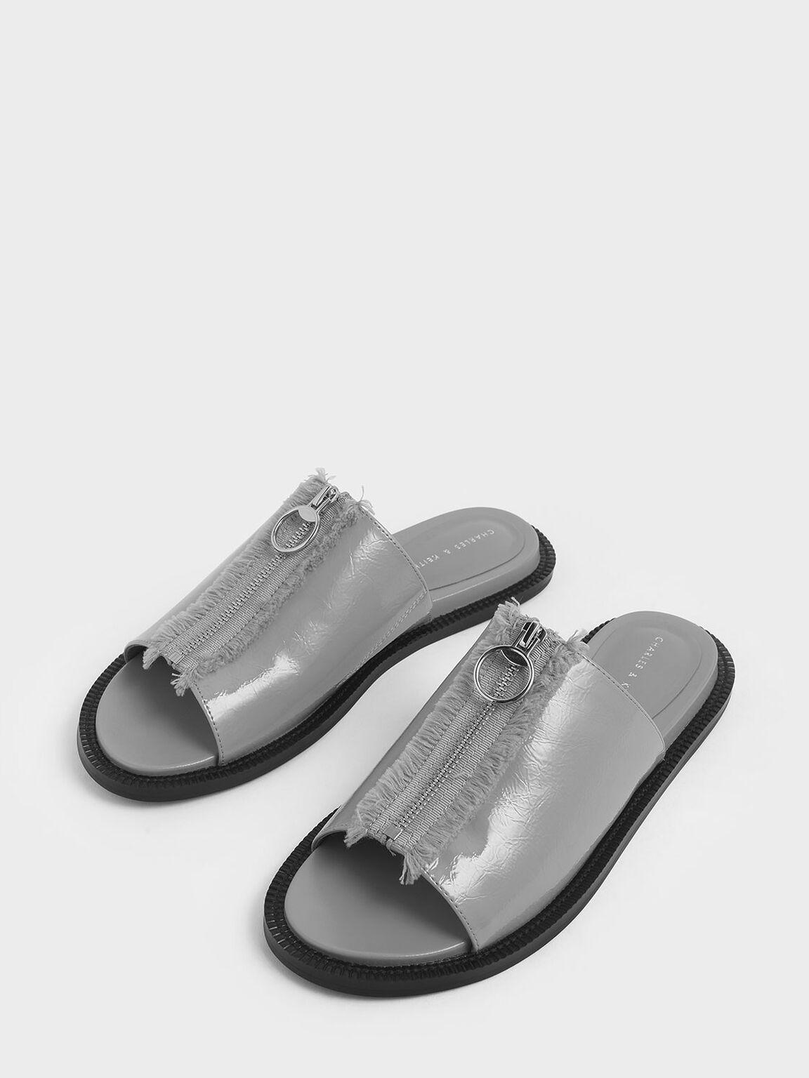 Wrinkled Patent Frayed Zip Front Slide Sandals, Light Blue, hi-res