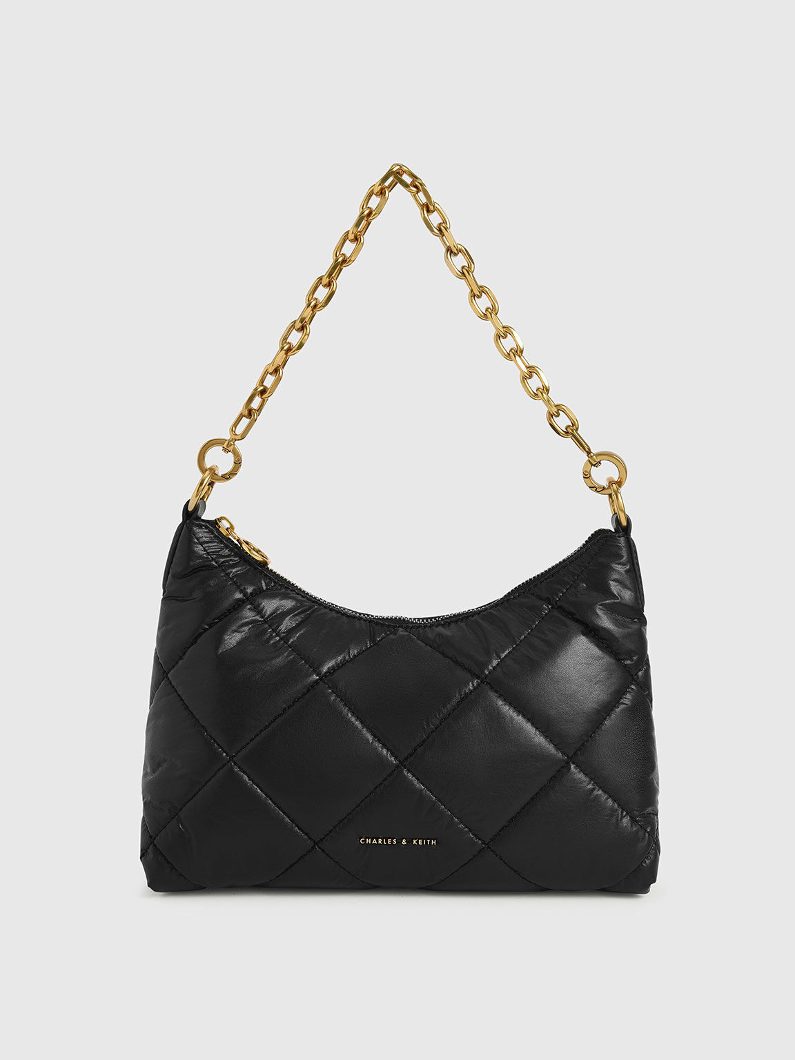 Puffy Quilted Chain Handle Bag, Black, hi-res