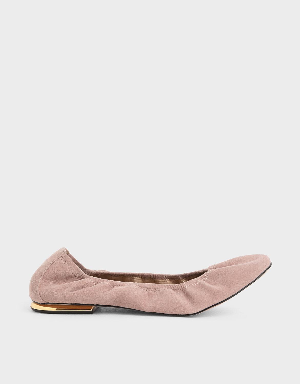 Ruched Ballerina Flats (Kid Suede)