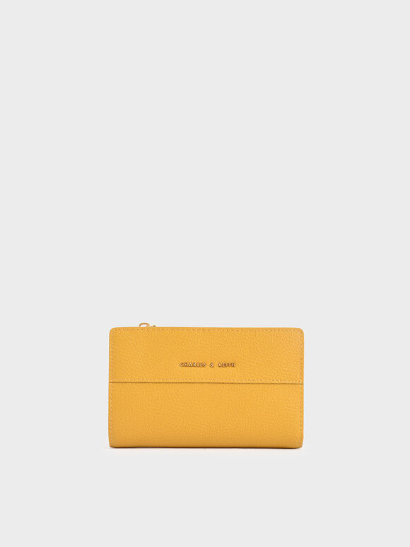 Snap-Button Mini Wallet, Yellow, hi-res