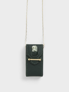 Agate Tree Stone Opera Necklace Bag, Green