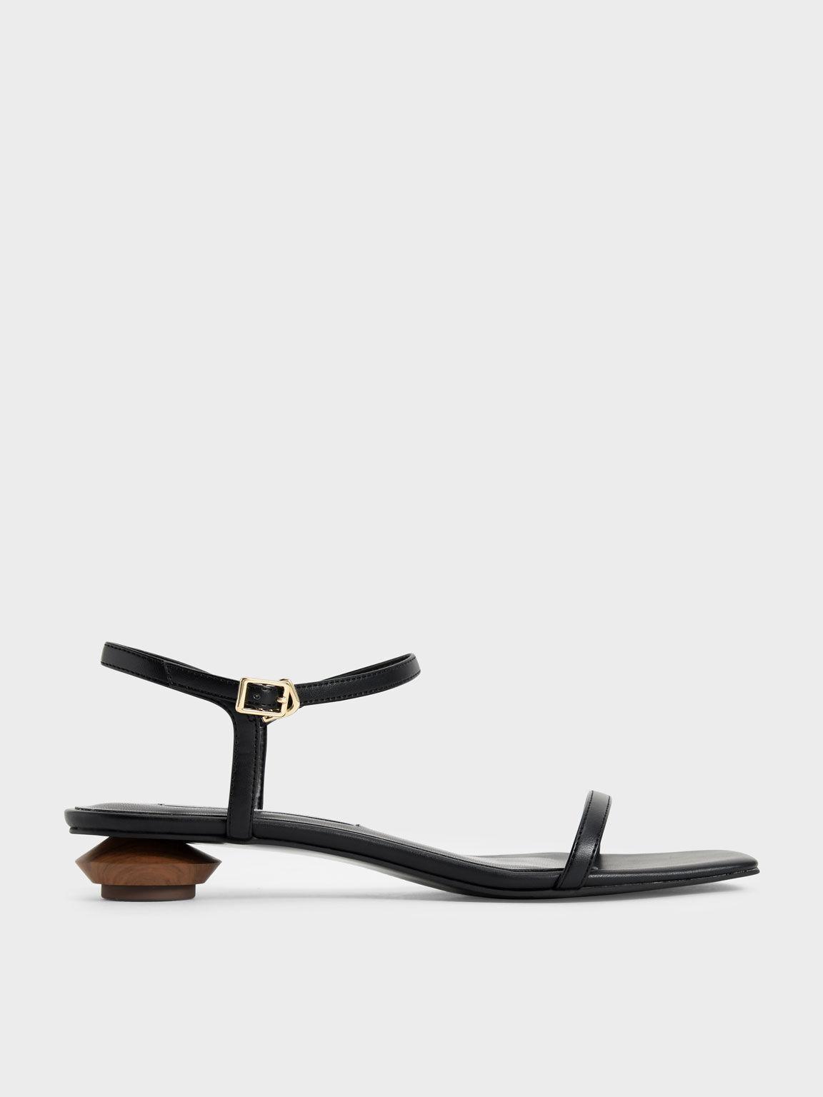 Sculptural Heel Ankle Strap Sandals, Black, hi-res