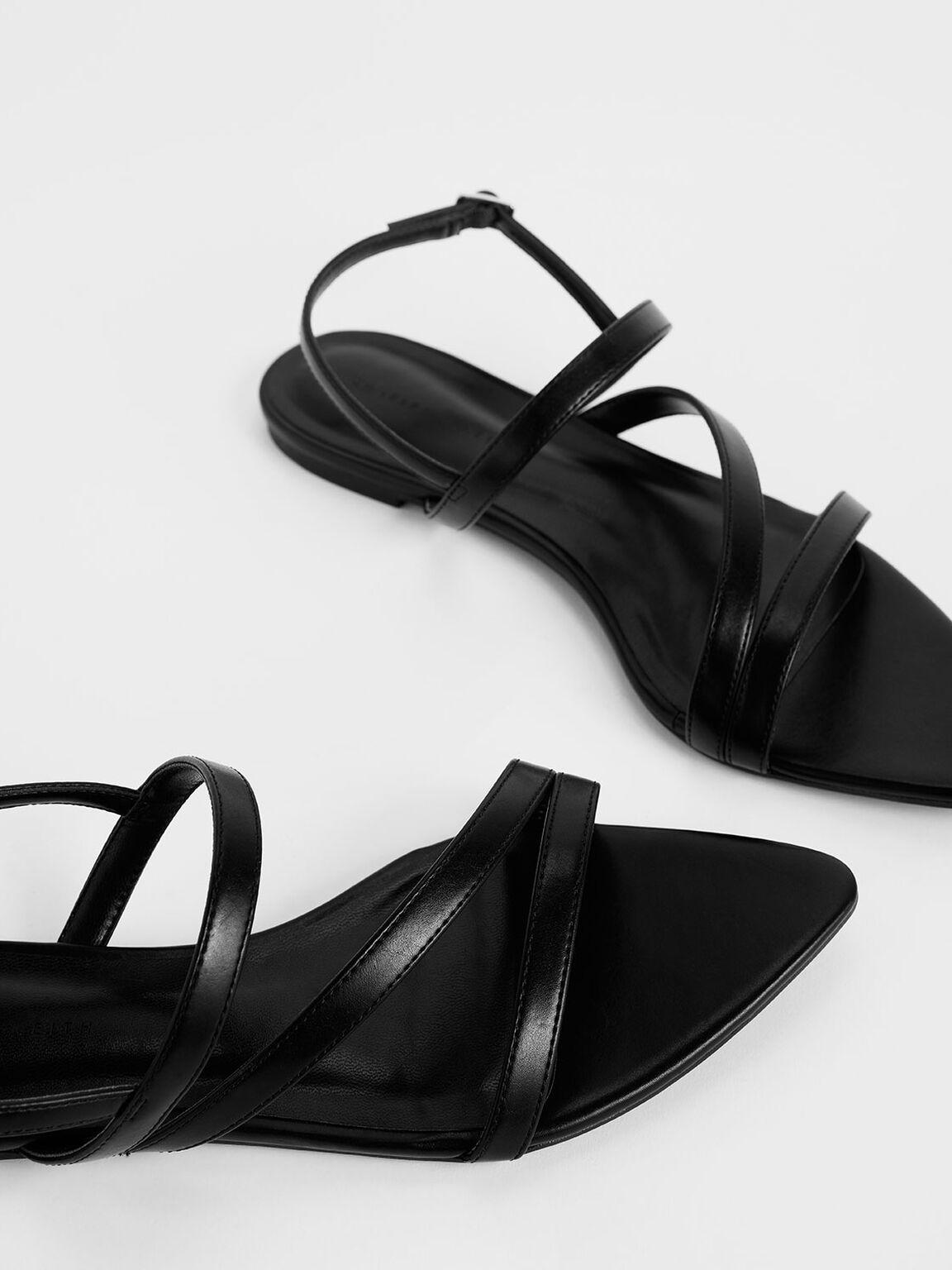 Asymmetric Strappy Sandals, Black, hi-res