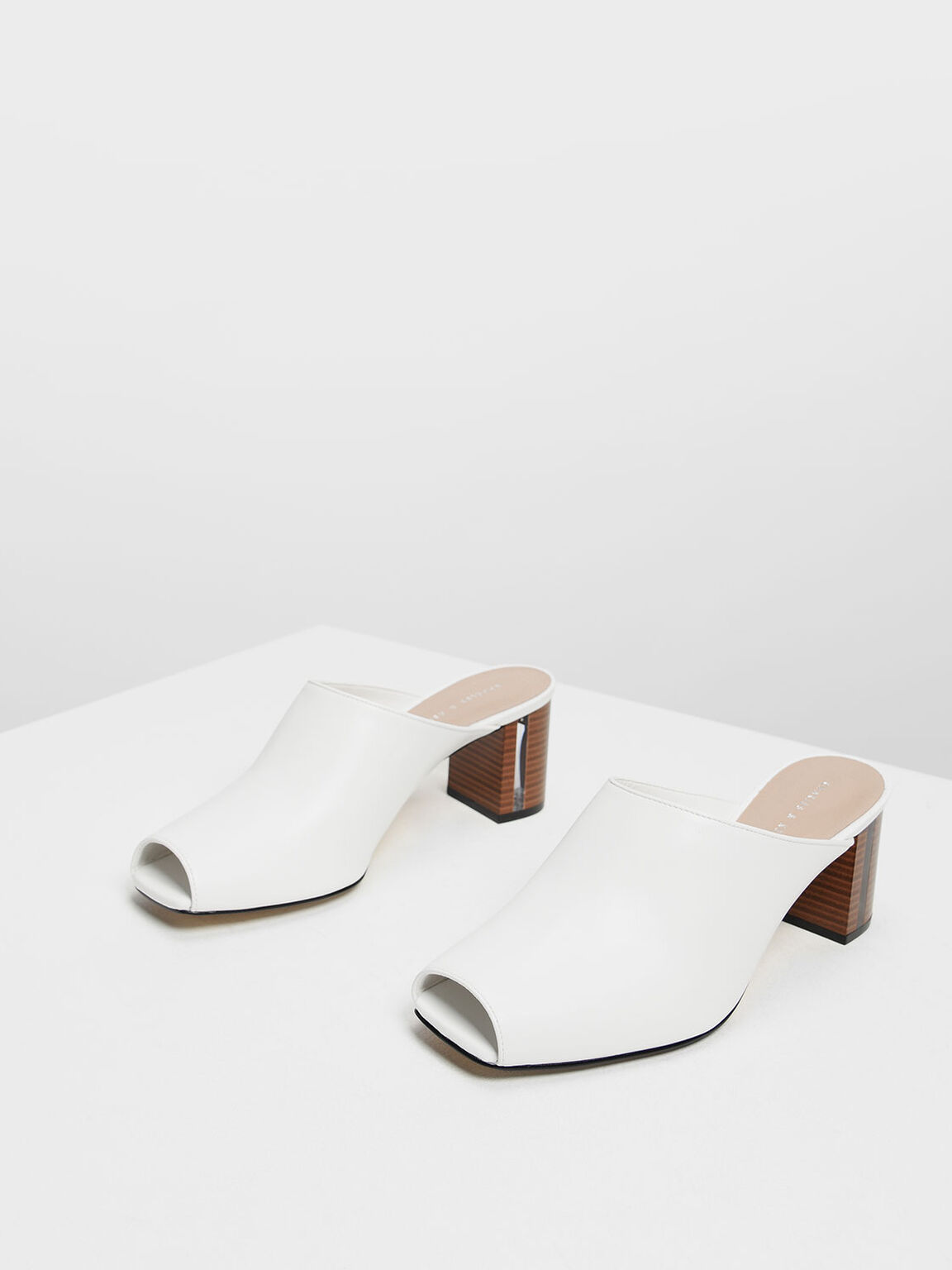 Wooden Block Heel Mules, White, hi-res