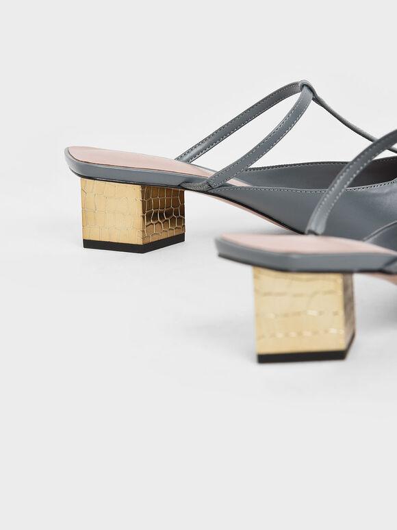 T-Bar Chrome Heel Mules, Blue, hi-res