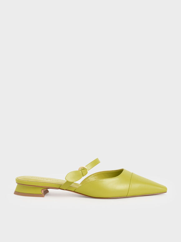 Mary Jane Strap Flat Mules, Green, hi-res