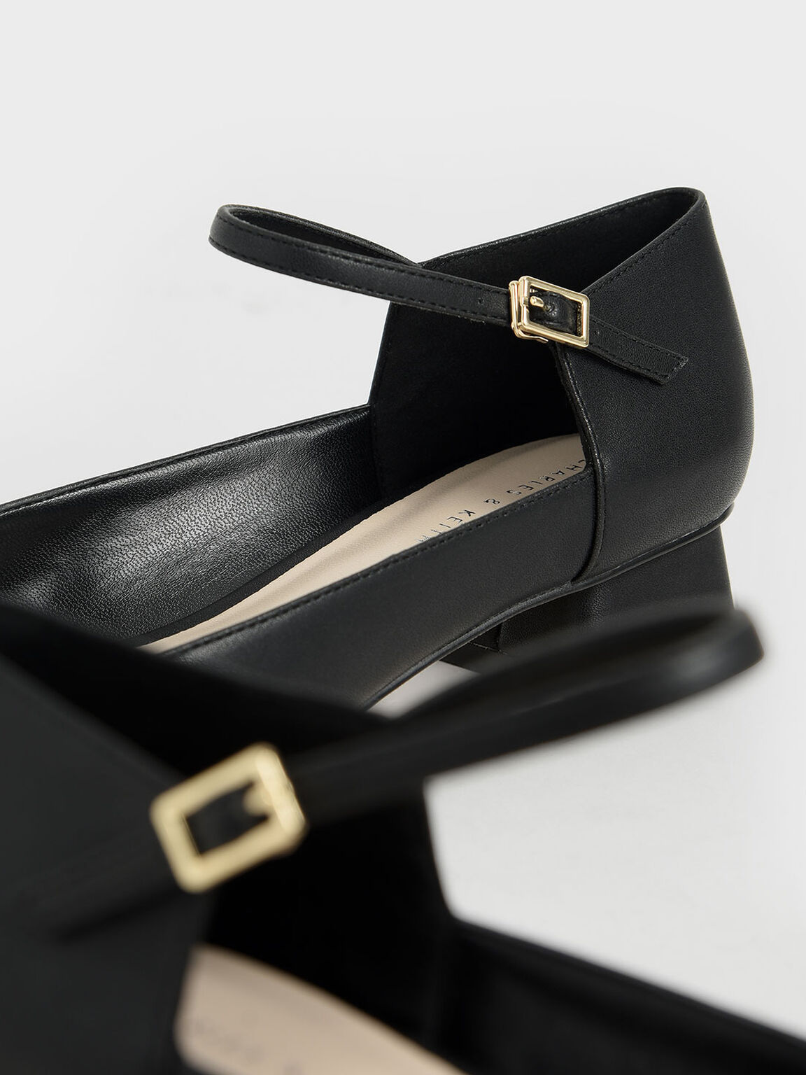 方頭繫踝跟鞋, 黑色, hi-res
