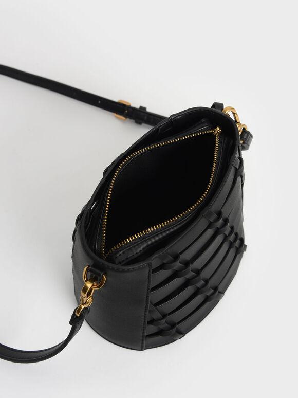 Braided Bucket Bag, Black, hi-res