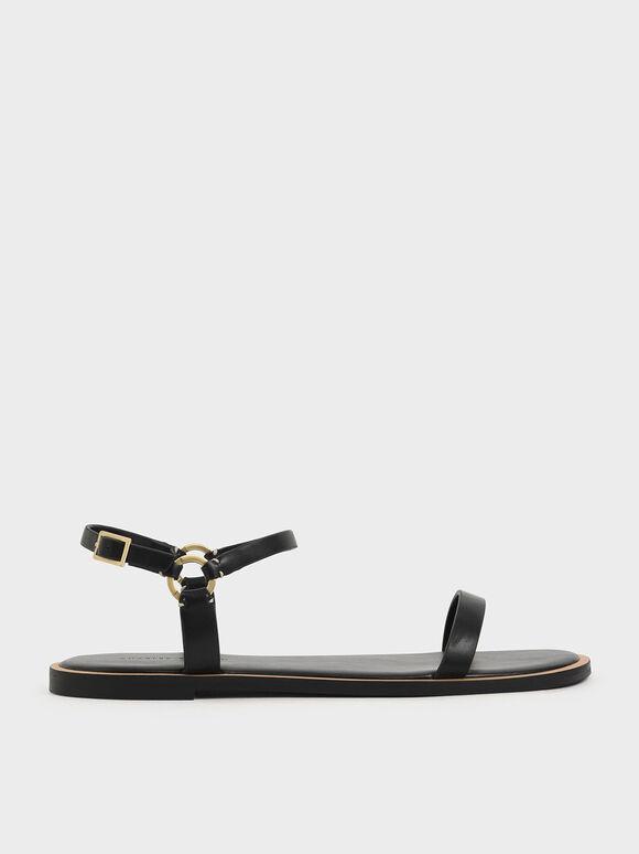 Flat Ankle Strap Sandals, Black, hi-res