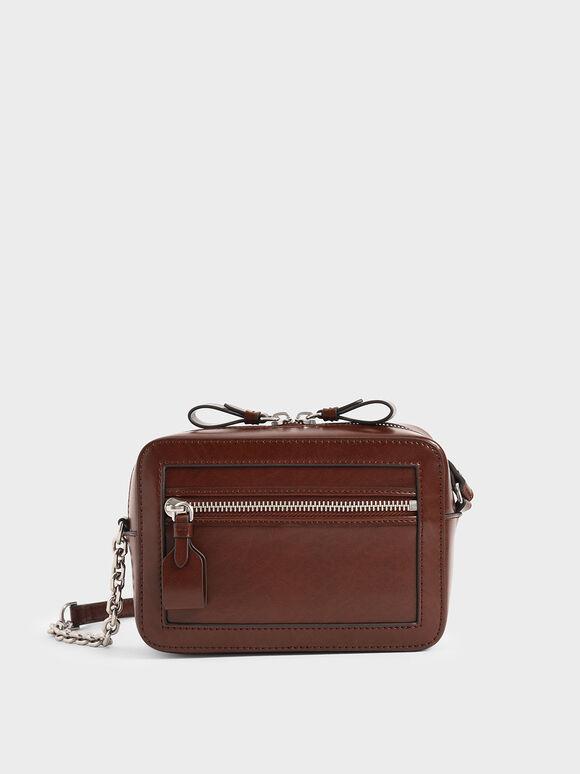 Two-Way Zip Boxy Bag, Brown, hi-res