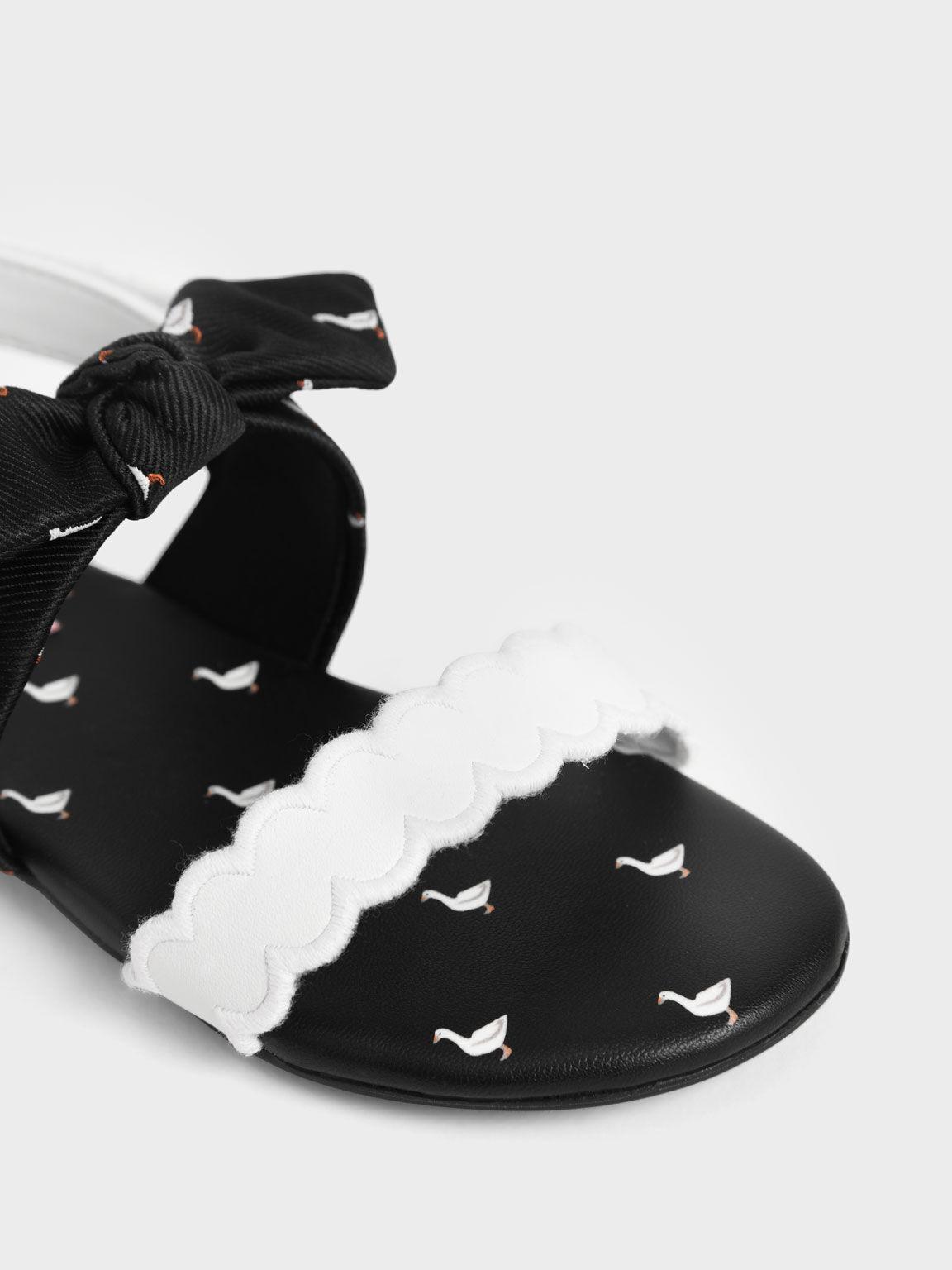 兒童扭結瑪莉珍涼鞋, 黑色, hi-res