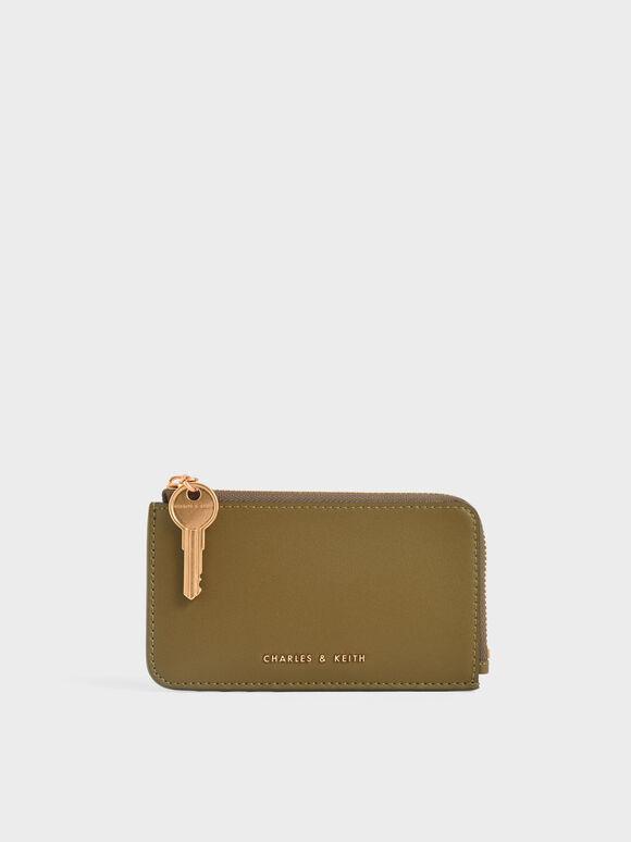 Zip-Around Mini Wallet, Olive, hi-res