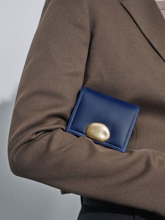 Metallic Accent Snap Button Card Holder, Dark Blue, hi-res