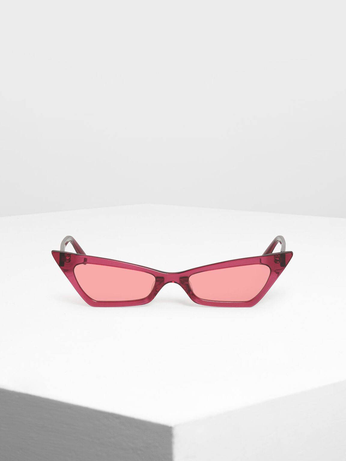 Angular Cat Eye Sunglasses, Red, hi-res