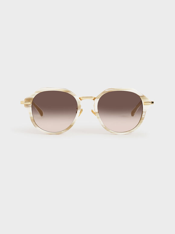 Geometric Sunglasses, Cream, hi-res