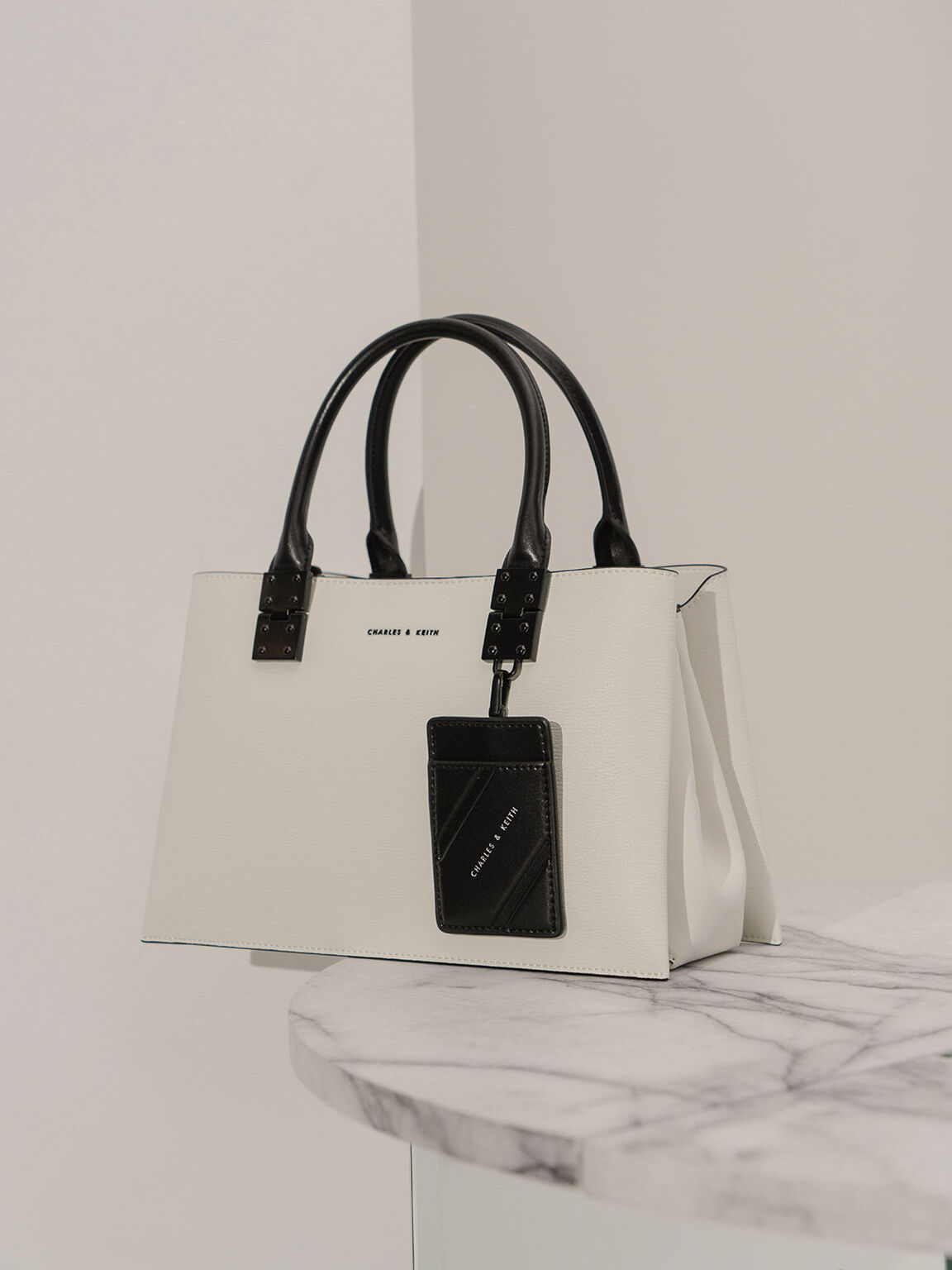 Double Top Handle Structured Bag, White, hi-res