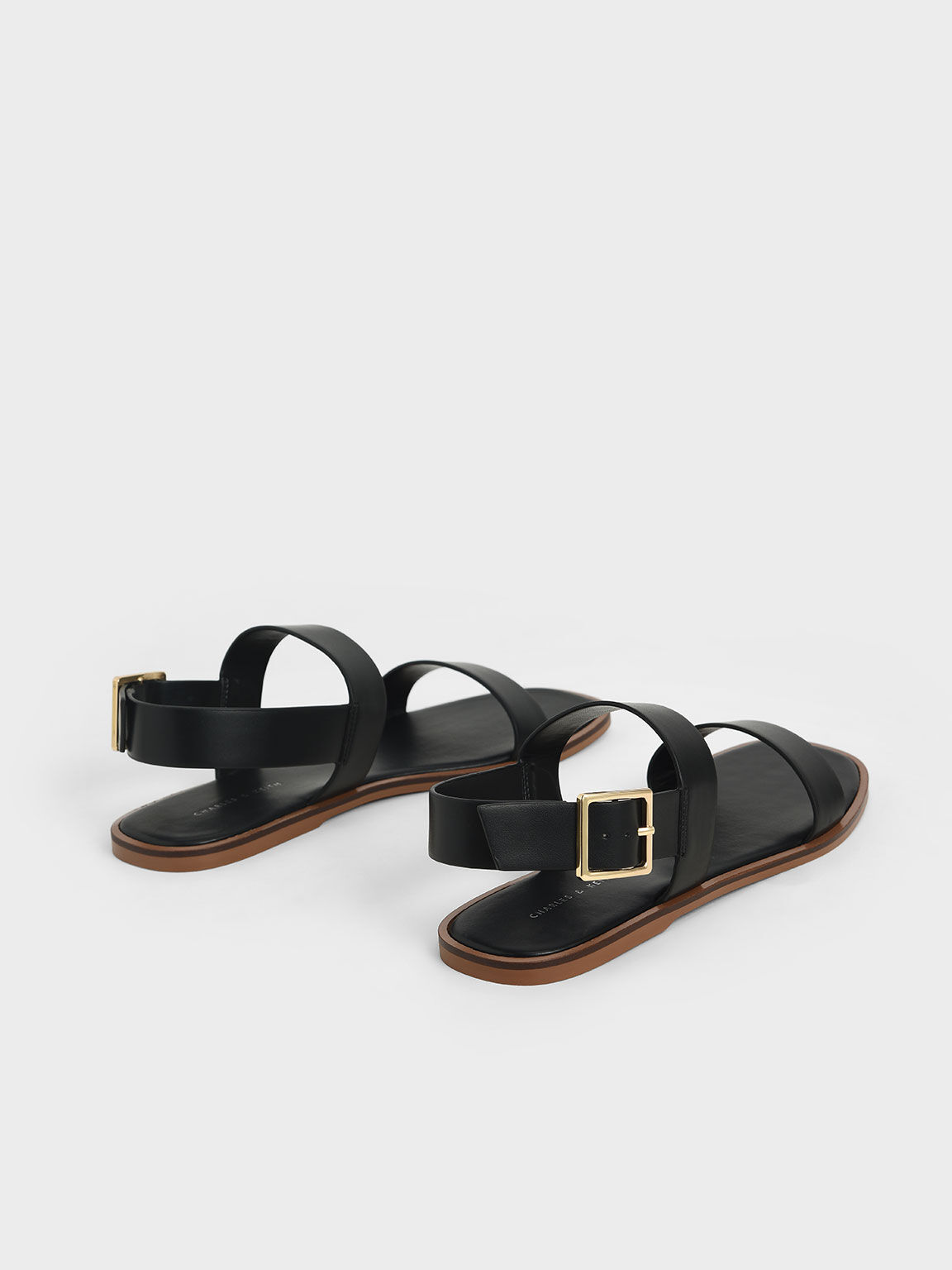 Buckle Ankle Strap Flat Sandals, Black, hi-res