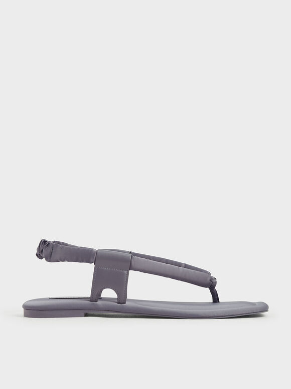 Puffy Strap Thong Sandals, Lilac Grey, hi-res