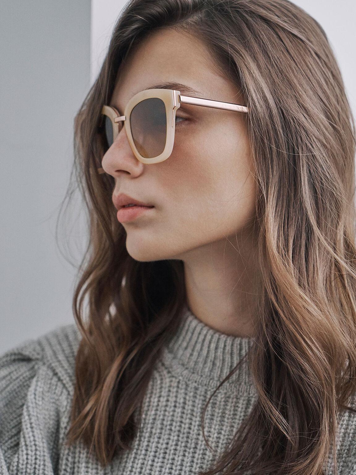 Acetate Wayfarer Sunglasses, Pink, hi-res