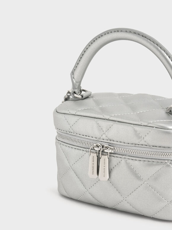 Two-Way Zip Metallic Quilted Bag, Silver, hi-res
