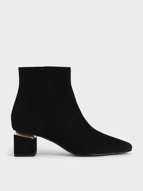 Textured Block Heel Ankle Boots, Black Textured, hi-res