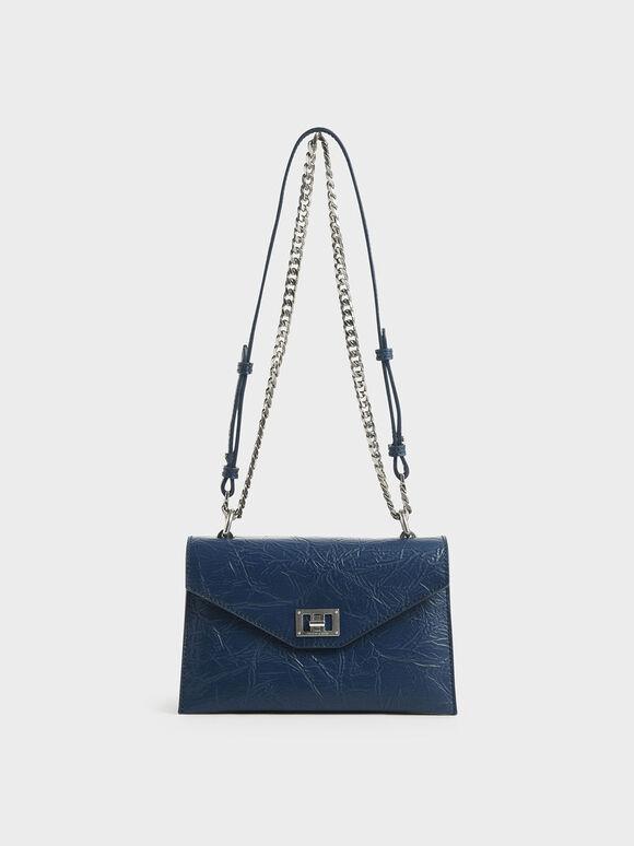 Wrinkled Effect Envelope Bag, Blue, hi-res