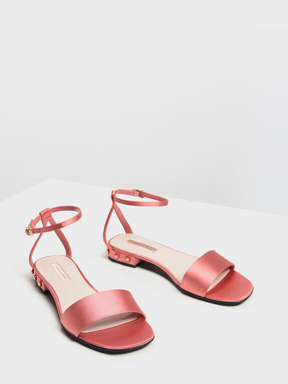 Bejeweled Heel Sandals, Coral Pink